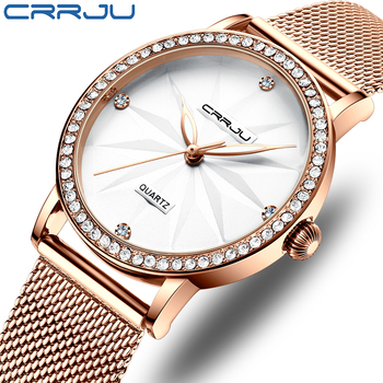 Watches for Women CRRJU Fashion Luxury Diamond Watch Ladies Dress Flower Quartz Waterproof Gift Wristwatch relogio feminino - discount item  91% OFF Women's Watches