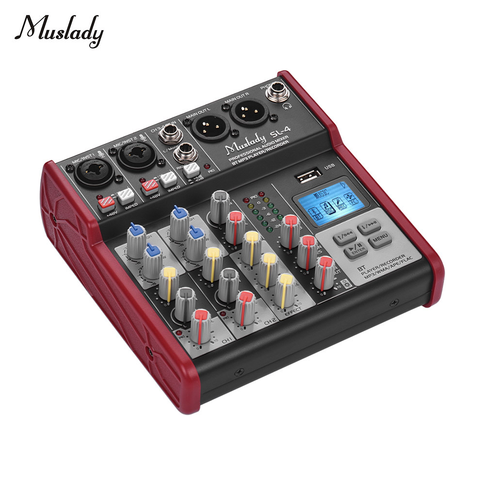 Muslady SL-4 Compact Size 4-Channel Mixing Console Mixer 2-band EQ Built-in 48V Phantom Power Supports BT Connection USB
