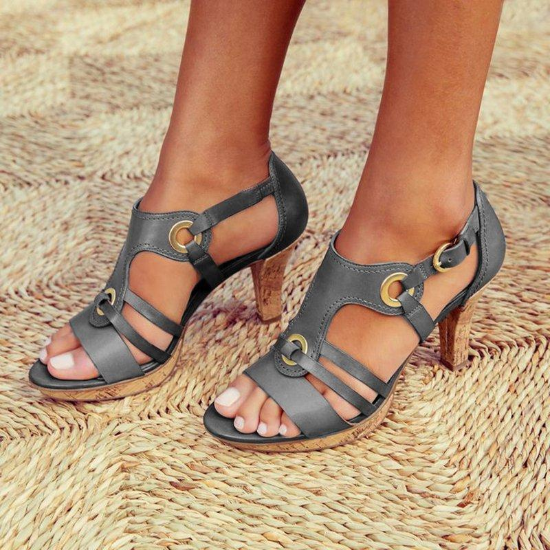 GOXPACER Summer Women Pumps High Heels Platform Women Shoes Single Shoes Thin Heels Metal Buckle Female Plus Size New Arrival