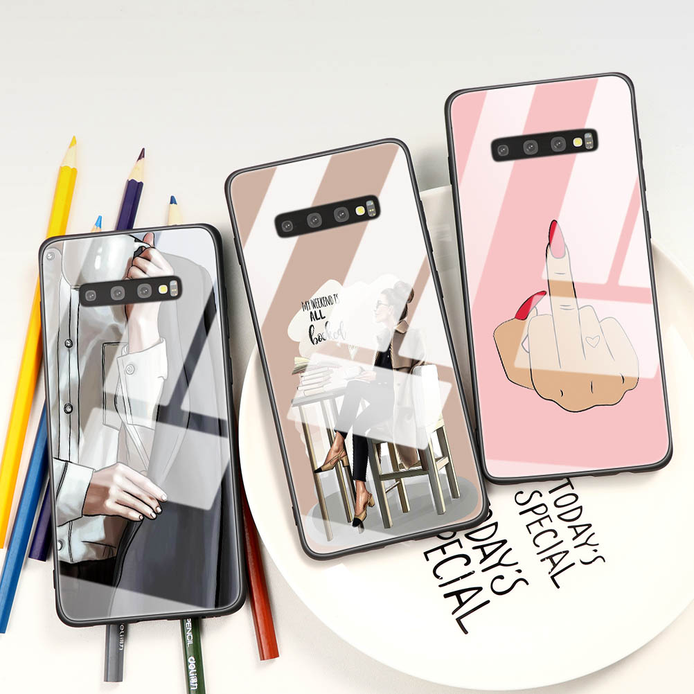 Fashion Black Brown Hair Girl boss Queen Tempered <font><b>Glass</b></font> <font><b>Case</b></font> For <font><b>Samsung</b></font> Galaxy A40 <font><b>A50</b></font> A70 S8 S9 S10 S20 Note 10 8 9 Lite Plus image
