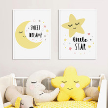 Sweet Dreams Little Star Yellow Nursery Decor Wall Art Canvas Painting Pop Poster Print Pictures New Baby Girls Gift Home Decor(China)