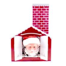 Christmas Electric Music Santa Claus Doll Drilling Chimney Drill House Toys for Kids Christmas Gift Festival Home Desktpo Decor