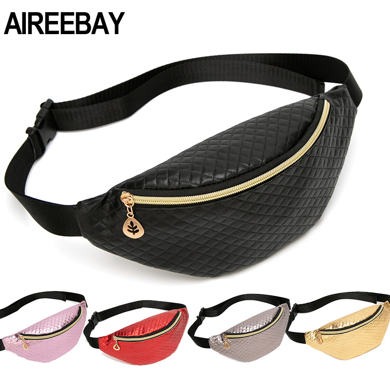 AIREEBAY Brand Designer Women Fanny Packs Retro Style Girls Belt Bag PU Leather Chest Travel Pouchs Trendy Pink Chest Bags