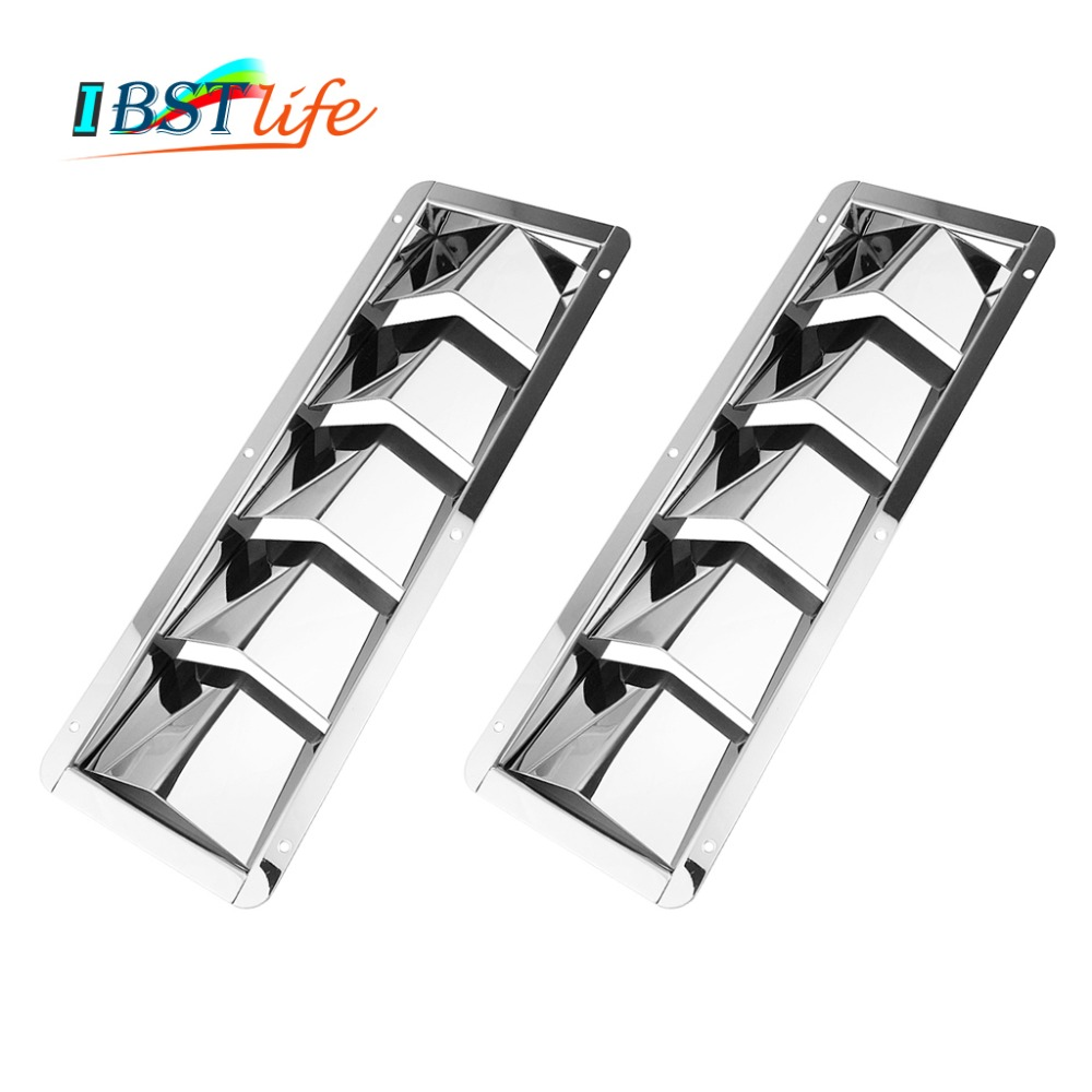 2PCS 5 Slots Stainless Steel 304 Boat Marine Square Air Louver Vent Grille Ventilation Louvered Ventilator Grill Cover