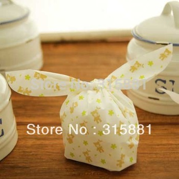 U-Bag Little flower Bear LUNCH BAG style Gift ,candy, biscuit bag  (green flower and Cute bear printing ) 200pcs/lot