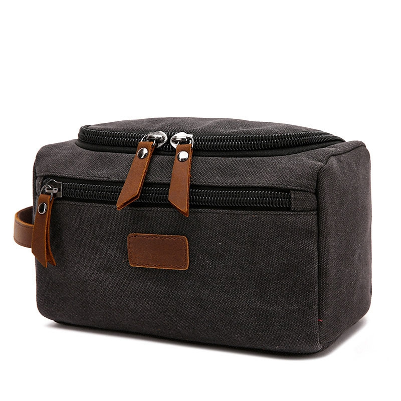 BEAU-Canvas Toiletry Bag For Men Wash Shaving Kit Women Travel Make UP Cosmetic Pouch Bags Case Organizer