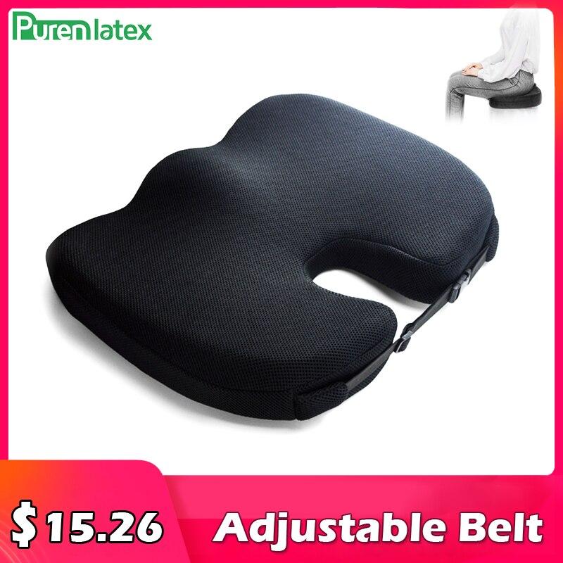 PurenLatex-cojín de asiento antideslizante, almohada ortopédica de espuma viscoelástica para glúteos, almohadilla ajustable transpirable para silla para aliviar el dolor de Tailbone