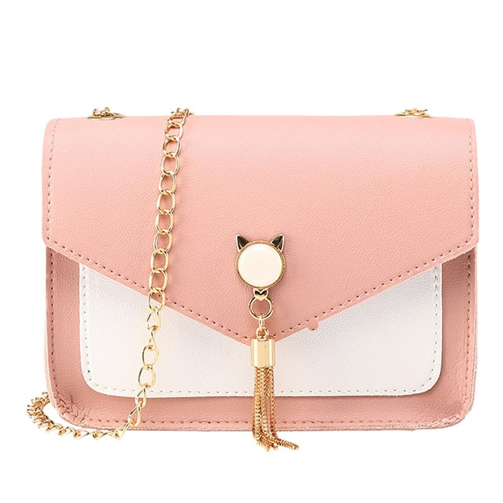 2019 Fashion Messenger Chain Bag Women Fox Tassel PU Leather Shoulder Bags Ladies Vintage Crossbody Handbag Bag