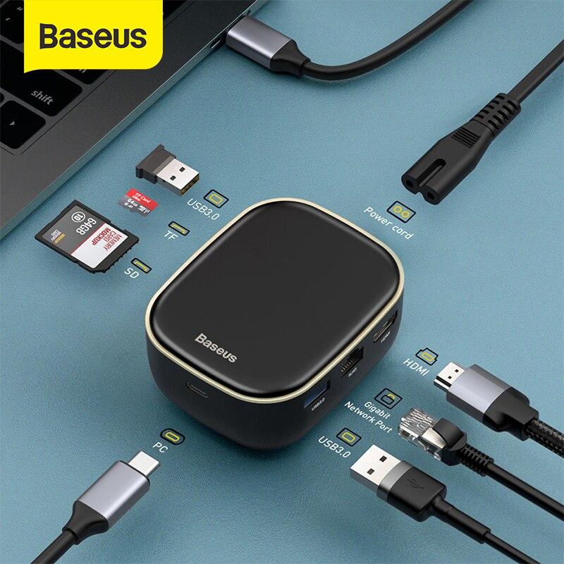 Baseus 2 in 1 USB Charger HUB USB Type C HUB for Macbook Pro USB 3.0 HDMI RJ45 Card Reader Adapter USB HUB Computer Accessories