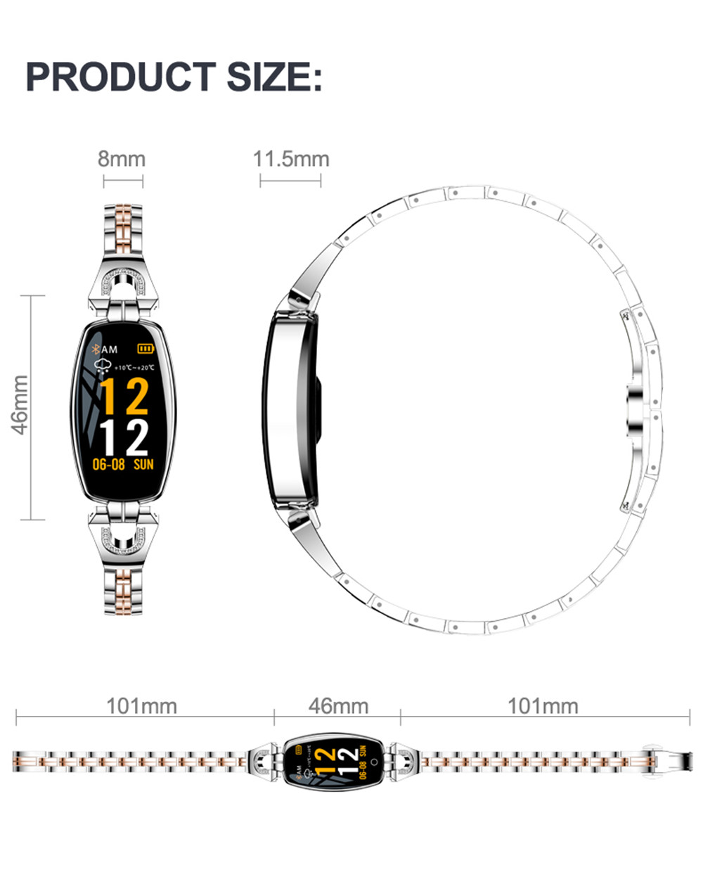 H95f48e7848b54af2a868c92e839dd129j Greentiger H8 Smart Bracelet Women Activity Fitness Tracker Heart Rate Monitor Blood Pressure IP67 Waterproof Smart Wristband