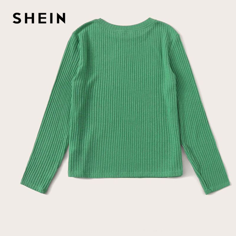 SHEIN Solid Round Neck Ribbed Knit Casual T-Shirt Women Tees 2019 Autumn Long Sleeve Office Ladies Basic Form Fitted T-shirts 2