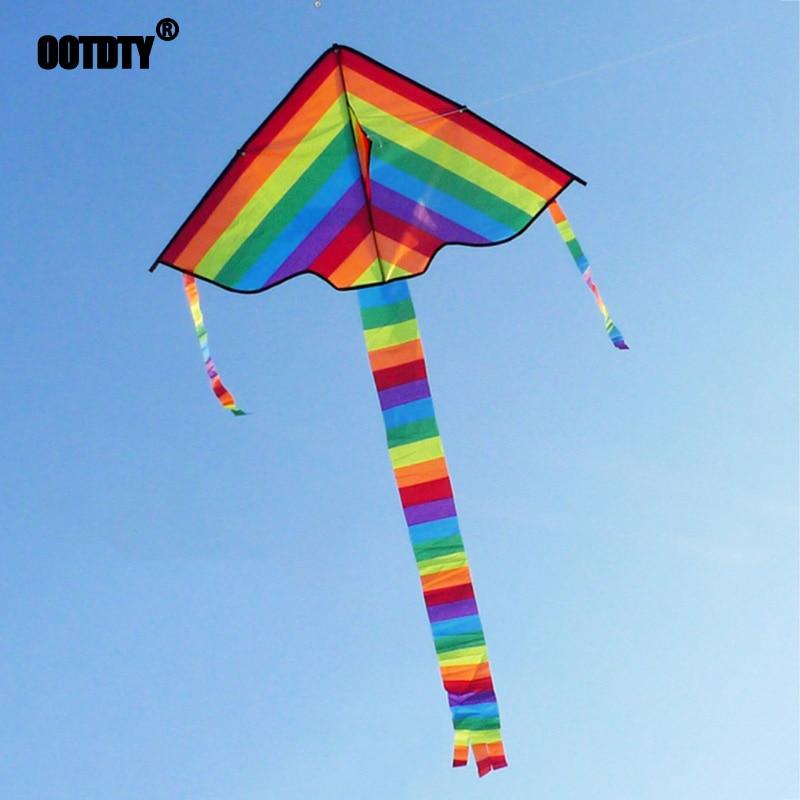 New Long Tail Rainbow Kite Outdoor Kites Flying Toys Kite For Children Kids Single Line Kite Flying Inflatable