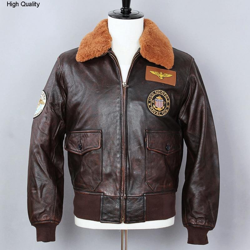 2020 Air Force Flight Jacket Genuine Leather Jacket Men Fur Collar Cowhide Bomber Jacket Brown Slim Fit Winter Coat Male