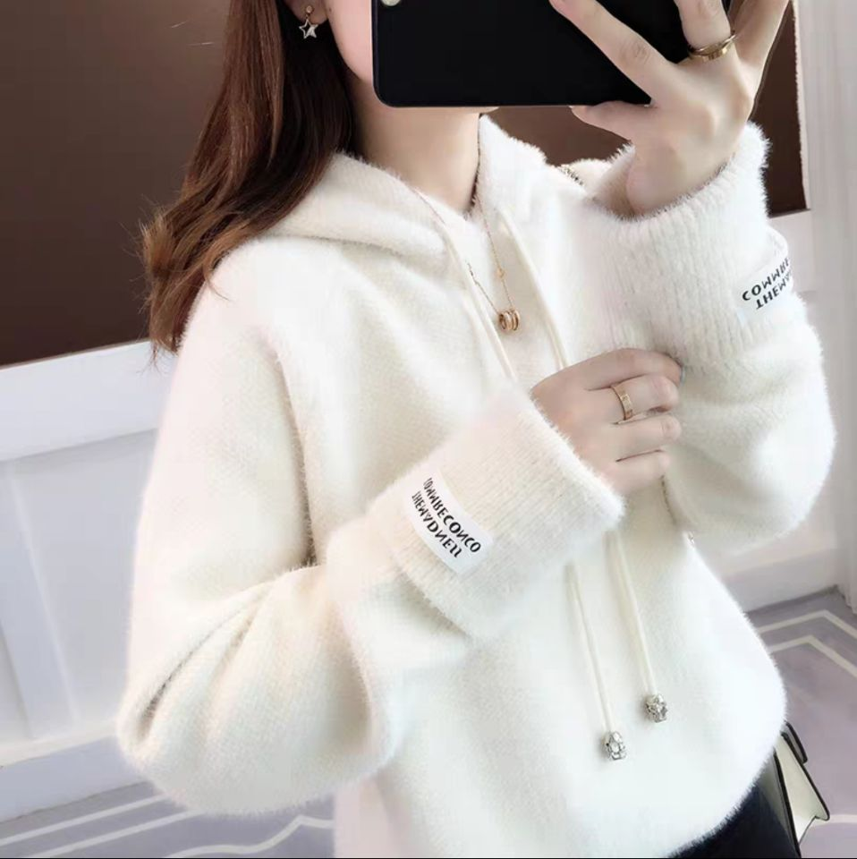 2019 Women Pullover Female Casual Gray Sweater Plaid O-neck Long Sleeve Mohair Sweater Autumn And Winter Style