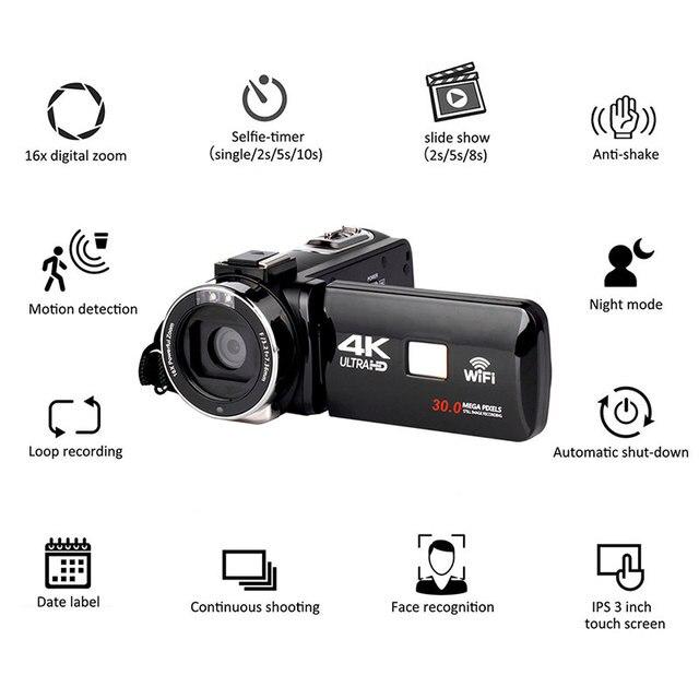 Full HD 4K กล้อง WiFi DV Professional Night Vision Anti Shake Digital Photo กล้อง Flow stabilizer