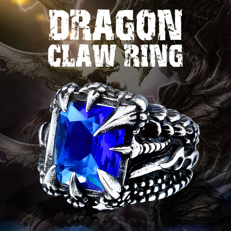 Men Figment Ring withBlue CZ Stone in Gold Tone Stainless Steel Engraved Dragon
