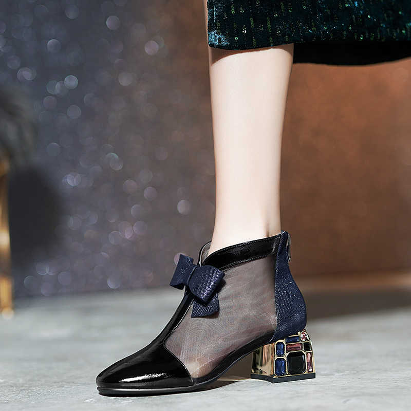 Kadın yaz Net çizmeler yüksek topuklu parti ayakkabıları kadın kış yeni hakiki deri moda kısa yay kadın yarım çizmeler Steinmeier