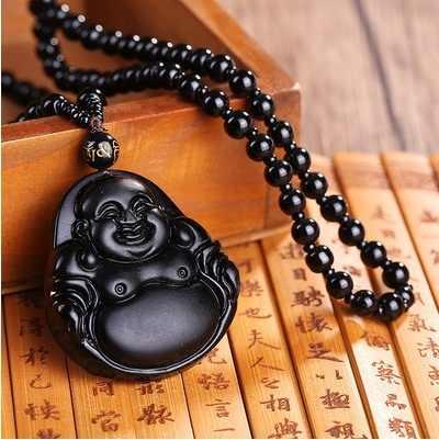 ธรรมชาติ Obsidian แฟชั่น 6 สไตล์พระพุทธรูปคริสตัลสร้อยคอ Guangong Mink มังกร Guanyin จี้ดึงดูดความมั่งคั่งปกป้องสันติภาพ