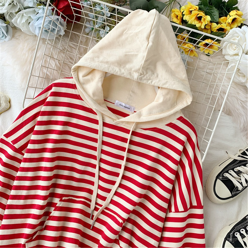 Women's Autumn Hoodies Striped Knit Sweatshirts Patchwork Hooded Woman Loose Lady Hoodie Japan Style Girls Tops LS202 44