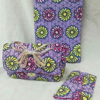 3pc Set Ankara Handbag+Clutch Bag+6 Yard african real dutch wax kitenge fabric For Wedding DFB-26