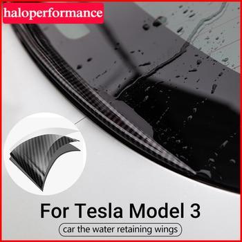 цена на Wings Restraint For Tesla Model 3 Spoiler Carbon Fiber ABS Trunk Rear Spoiler Cover Trim Water Retaining Wing Model3 Three 2020