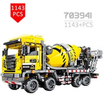Diy Technic Car Building Blocks City Engineering Agitating Lorry Modle Construction Mixer Truck Car  Education Toys for Children