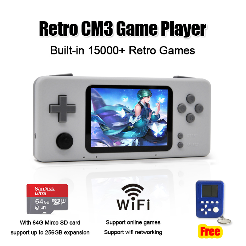 Новые предложения Ретро CM3 портативная игровая консоль предварительно установленная 10000 + классические игры портативные игровые плееры с к