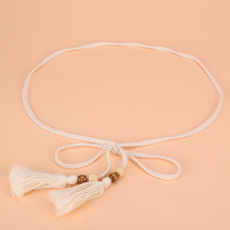 Ms. Woven Cotton Rope Waist Chain With A Skirt Long Section Of Decorative Tassel Tie Belt Narrow Waist Chain Female Models
