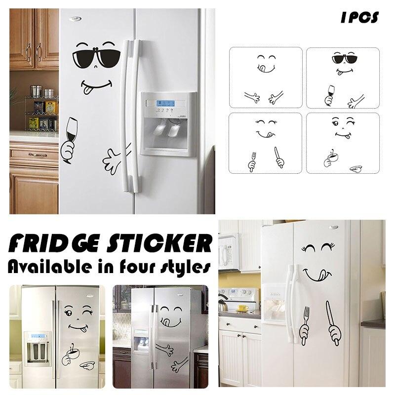 >Refrigerator Sticker Black Happy <font><b>Delicious</b></font> Face <font><b>Cartoon</b></font> Fridge Sticker Wall Sticker <font><b>PVC</b></font> Kitchen Tiles Art Becudda Window