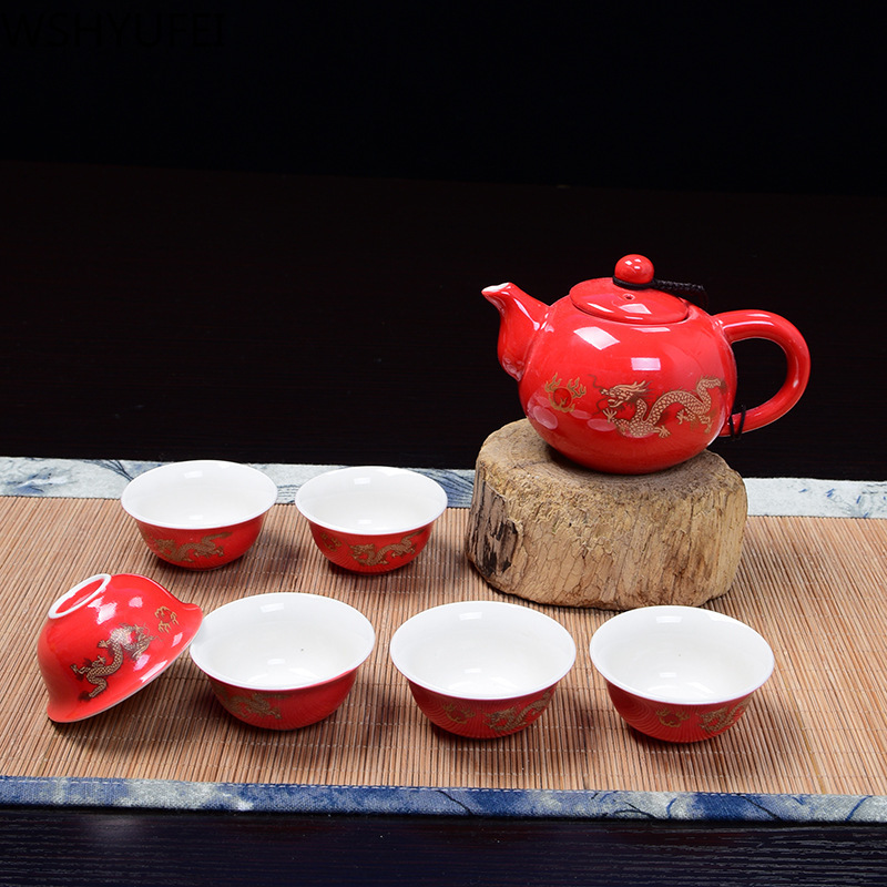 Chinese ceramic tea set Kung Fu tea set With 1 teapot of 6 cups Suitable For Home Office Tea Set Drinkware Travel tea set