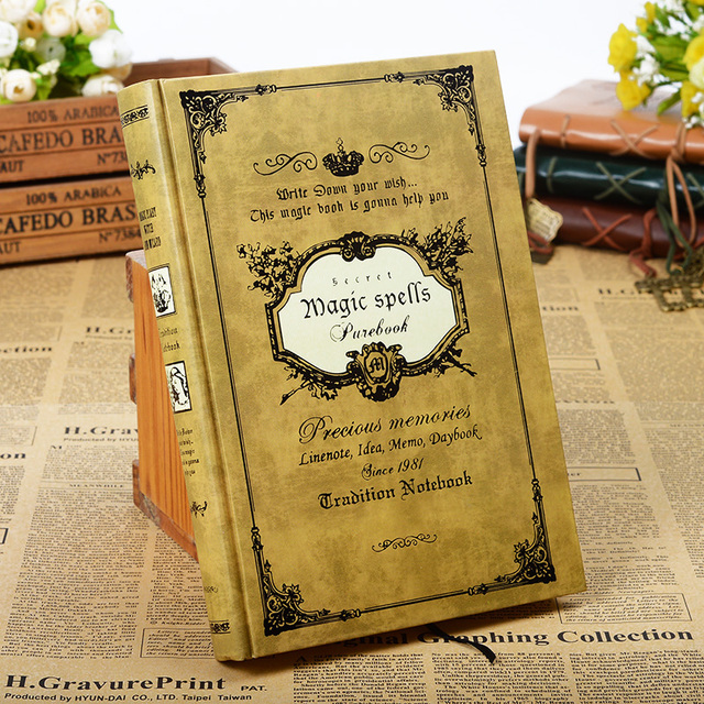 160sheets Vintage Magic Spell Composition Book Handcover Notebook Travel Journal Travelers Notebook Sketchbook Kraft Paper Gift
