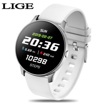 LIGE 2019 Fashion Sports Smart Watch Men Women Fitness tracker Heart rate monitor Blood pressure function smartwatch For iphone
