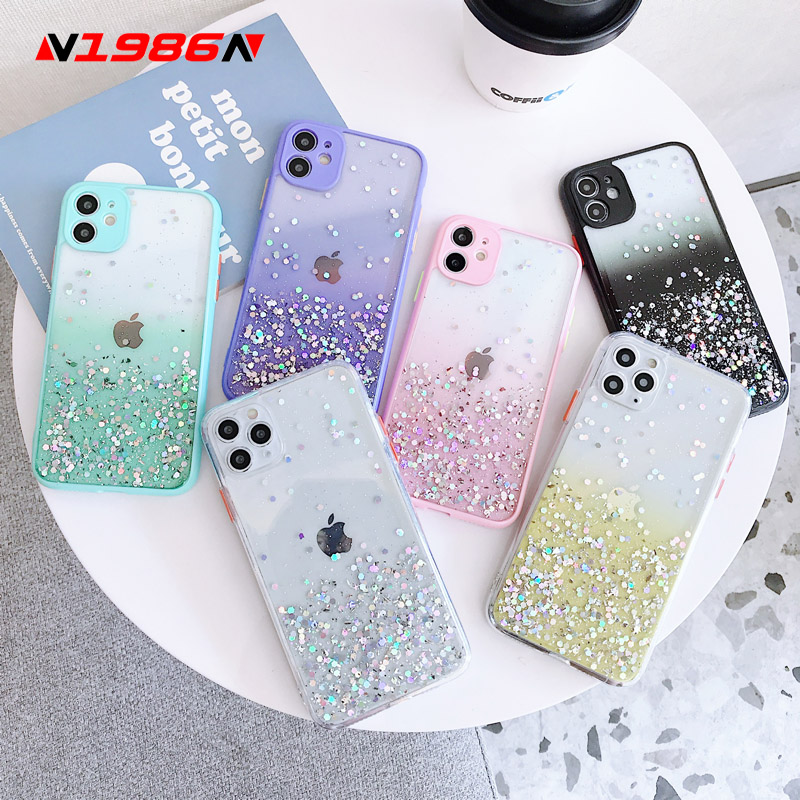 N1986N Phone Case For iPhone 11 Pro X XR XS Max 7 8 Plus SE 2020 Luxury Glitter Bling Gradient Candy Colors Clear For iPhone 11