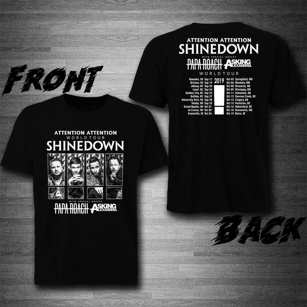 Shinedown With Papa Roach, Asking Alexandria Tour 2019 T-Shirt Tee Exclusive Printed Mens T Shirt