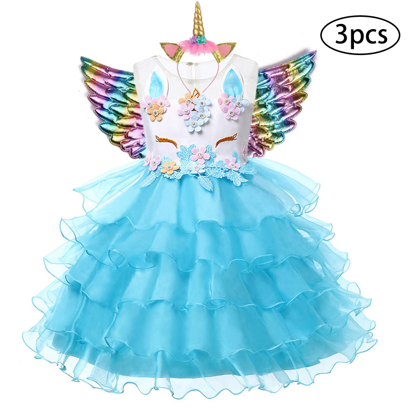 H95f538b7f6a84066b43221ba2cc37557P New Girls Dress 3Pcs Kids Dresses For Girl Unicorn Party Dress Christmas Carnival Costume Child Princess Dress 3 5 6 8 9 10 Year