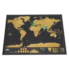 Делюкс Стереть Мир Карта Путешествия Скреста Для 82.5х59.4 см номер домашнего офиса украшение стены стикеры
