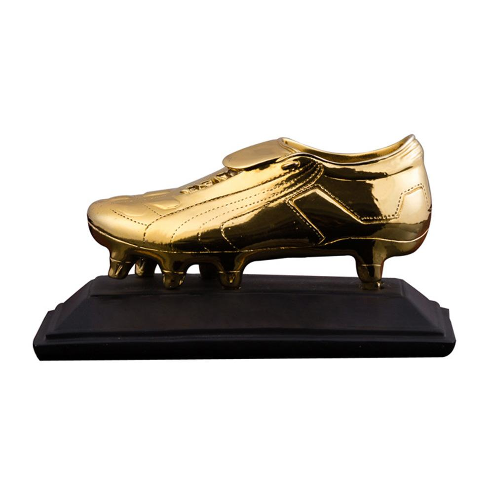 Sports Football Trophy Resin Electroplated Safe to Use Non-toxic Golden Shoe Award Trophy World Cup celebration Gift