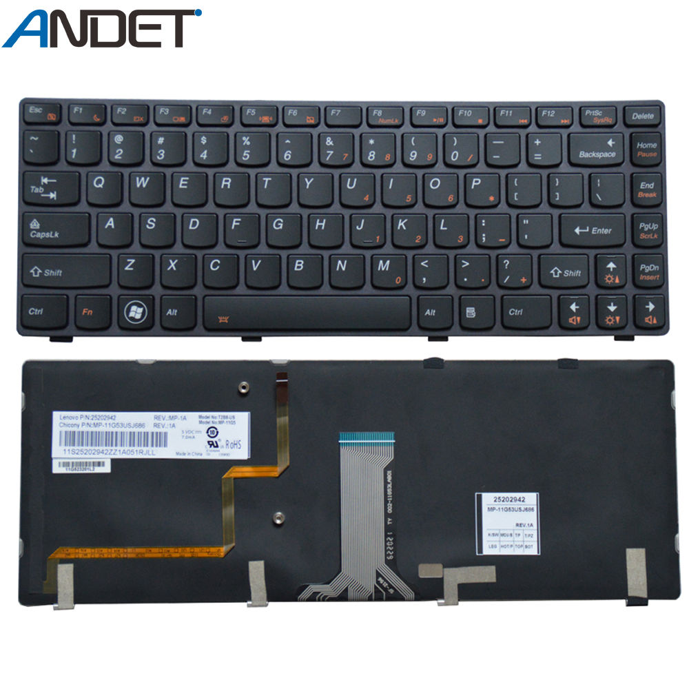 Новая клавиатура для Lenovo Y480 Y480A Y480N Y480P Y485 Y485P Y480M английская клавиатура с подсветкой