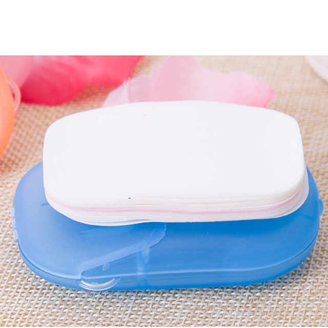 20/40/80PCS Disposable Soap Boxes Portable Travel Soap Paper Outdoor Washing Hand Bath Scented Slice Sheets Mini Soap 3