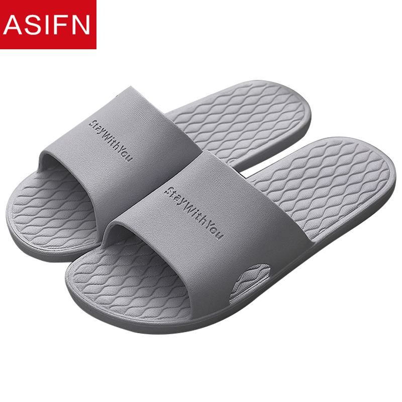 ASIFN Men Home Slippers Flip Flops Summer Simple Household Indoor Non-slip House Slipper Shoes Zapatos De Hombre Slides Male