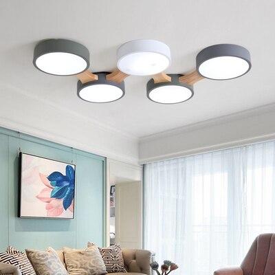 220 В светодиодный потолочный светильник с круглым металлическим абажуром для гостиной, современный потолочный светильник, Деревянный свет