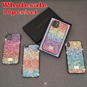 Image 1 - 10pcs/lot Women Luxury Gift Phone Back Case for iphone 6 6s 7 8 Plus 11 Pro Max 11Pro Color Gradual Glitter Hard Case MYL 67K