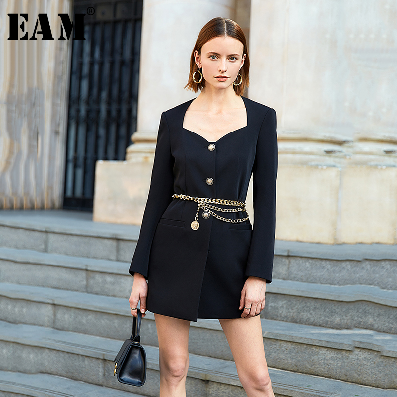 [EAM] Women Black Singble Breasted Temperament Dress New Square Collar Long Sleeve Loose Fit Fashion Spring Autumn 2020 1S066