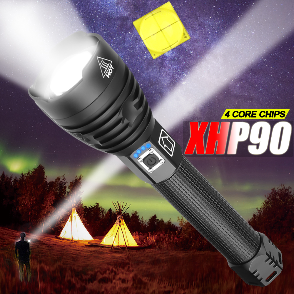 8000LM Most Powerful XHP90 LED Flashlight Brightest Zoom Torch XHP70 USB Rechargeable Lamp Use 18650 26650 For Camping Hunting