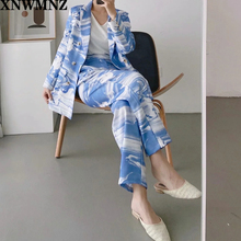 Za Women Blazer with Double Breasted Striped Print Long Sleeve Oversize Outwear Coat Femme Autumn Casaul Blue Oversize Blazer cheap Cotton Polyester Regular V-Neck Button Fly Ages 18-35 Years Old DT27623-27641 Pant Suits Full Bohemian
