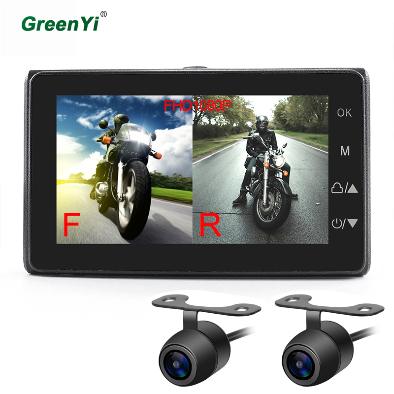 GreenYi MT19 Motorcycle Video DVR Dash Cam Full HD 1080P+720P Front Rear Camera Waterproof