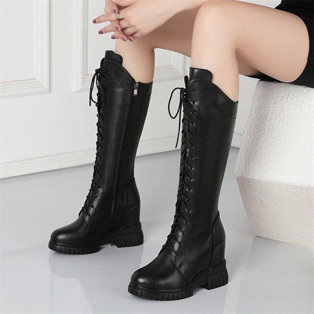 Туфли лодочки женские черные на шнуровке телячья кожа высокий