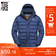 Padded Jacket Hooded Overcoat Men Tiger-Force Plus-Size Double-Zipper-Coat Warm Men's