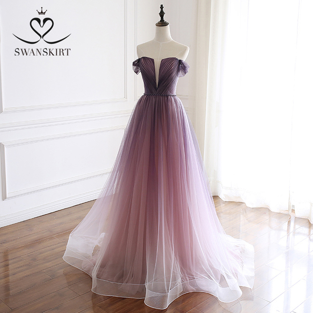 Romântico vestido de noite 2020 swanskirt praia fora do ombro a linha tule princesa cinto de cristal vestido de noiva noiva a263