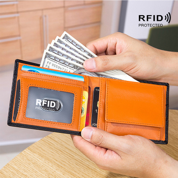Men Wallet With Coin Pocket Genuine Leather ID Credit Card Holder RFID Anti-Theft Card Cash Wallets Mens CardHolder Luxury Brand 2